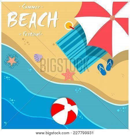 Summer Beach Festival Beach Umbrella Chair Background  Vector Image