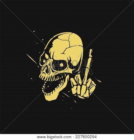 Yellow Skeleton On Black Background Vector Illustration Design.