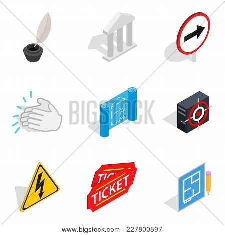 Theatre Icons Set. Isometric Set Of 9 Theatre Vector Icons For Web Isolated On White Background