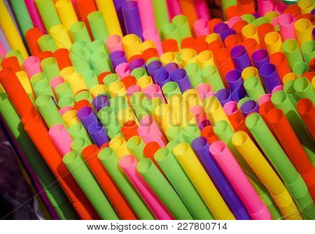 Colorful Of Plastic Drinking Straws Background. Close Up