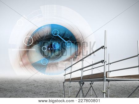 Digital composite of Digital eye interface with 3D Scaffolding