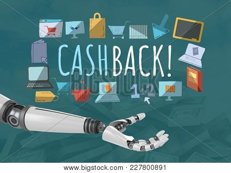 Digital composite of Android hand open and Cashback text with drawings graphics