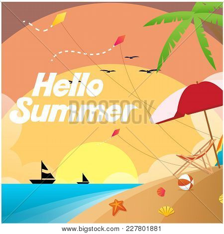 Hello Summer Beach Saiboat Sunset Background Vector Image
