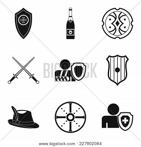 Shield Icons Set. Simple Set Of 9 Shield Vector Icons For Web Isolated On White Background