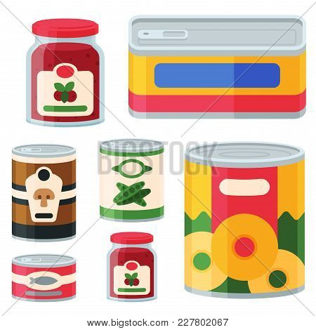 Collection Of Various Tins Canned Goods Food Metal Conserve Nutrition And Glass Container Vector Ill