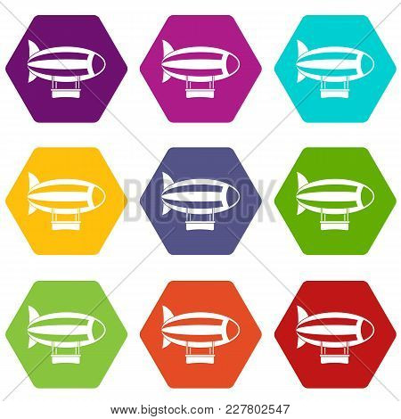 Striped Dirigible Icon Set Many Color Hexahedron Isolated On White Vector Illustration