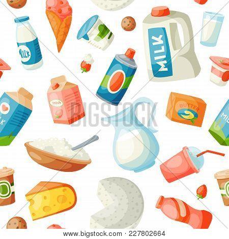 Milk Dairy Vector Food Products In Flat Style Milky Breakfast Gourmet Organic Meal Fresh Diet Food M
