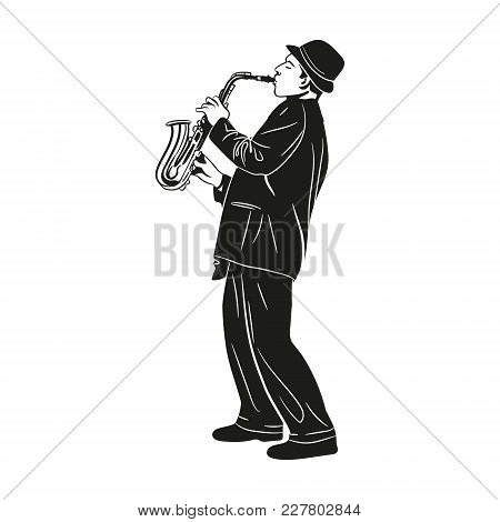 Vector Image Of A Street Musician Saxophonist In A Graphic Style