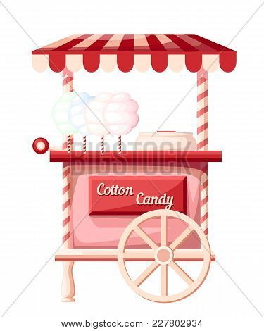 Pink Cotton Candy Cart Kiosk On Wheels Portable Store Idea For Festival Vector Illustration Isolated