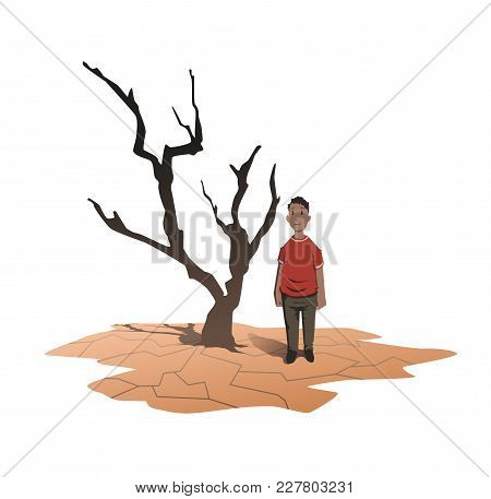 Water Scarcity Concept. An African Man Stands Next To A Withered Tree On The Cracked Earth. Drought,