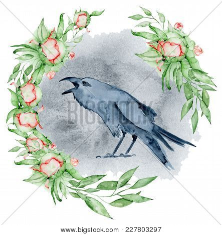 Watercolor Black Raven With Floral Peony Wreath Hand Drawn Crow With Flowers Illustration
