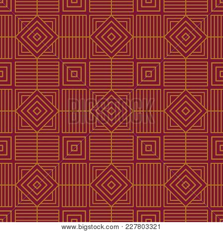 Seamless Background Southeast Asian Retro Aboriginal Traditional Art Textile Pattern Polygon Check S
