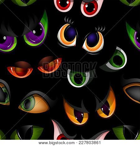 Cartoon Vector Eyes Beast Devil Monster Animals Eyeballs Of Angry Or Scary Expressions Evil Eyebrow