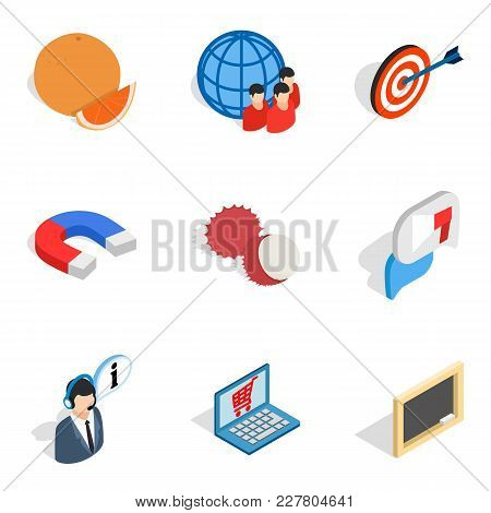 Purchasing Icons Set. Isometric Set Of 9 Purchasing Vector Icons For Web Isolated On White Backgroun