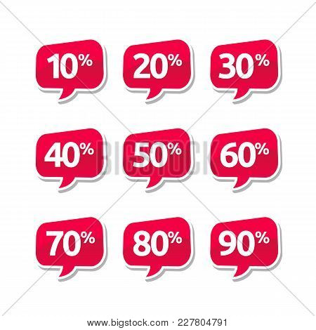 Glossy Sale And Discount Label. Vector Illustration Of Sale And Discount Label Or Price Tags. Made F