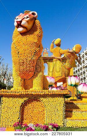 Menton, France - February 18, 2018: Art Made Of Lemons And Oranges In The Famous Lemon Festival (fet