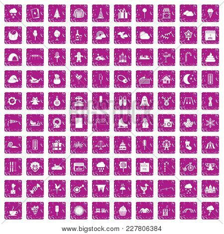 100 Childrens Parties Icons Set In Grunge Style Pink Color Isolated On White Background Vector Illus