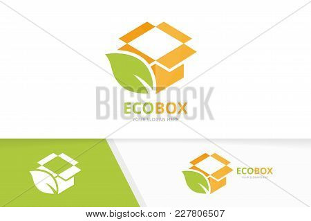Vector Box And Leaf Logo Combination. Package And Eco Symbol Or Icon. Unique Delivery And Organic Lo