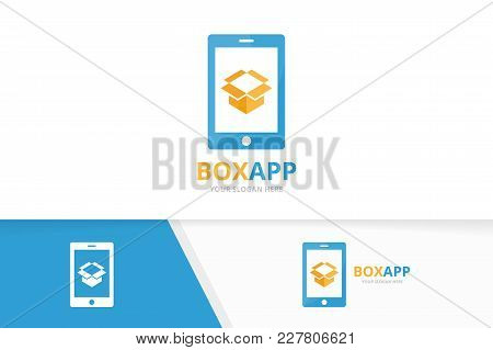 Vector Box And Phone Logo Combination. Package And Mobile Symbol Or Icon. Unique Delivery And Device