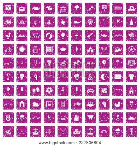 100 Childrens Playground Icons Set In Grunge Style Pink Color Isolated On White Background Vector Il