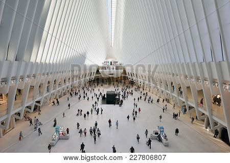 New York City - August 24: Interior Of The Wtc Transportation Hub On August 24, 2017 In New York Cit