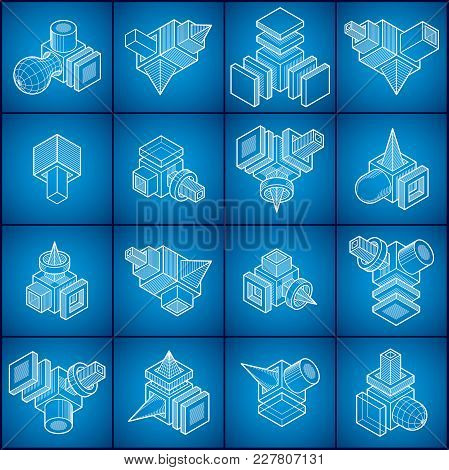 Engineering Abstract Geometric Shapes, Vectors Cubes Set.
