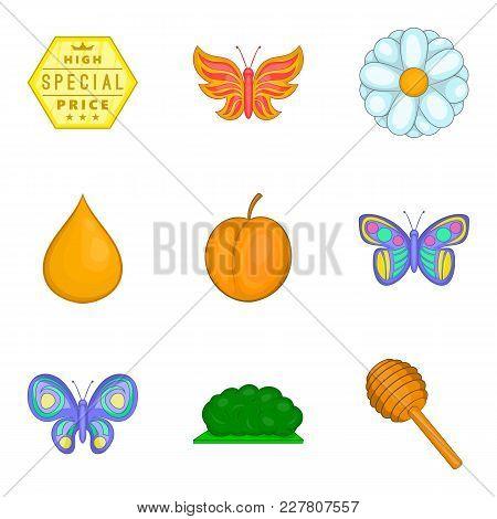 Honey Harvest Icons Set. Cartoon Set Of 9 Honey Harvest Vector Icons For Web Isolated On White Backg