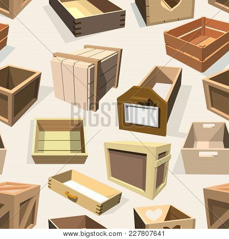 Box Package Vector Wooden Empty Drawers And Packed Boxes Or Packaging Crates With Wood Crated Contai