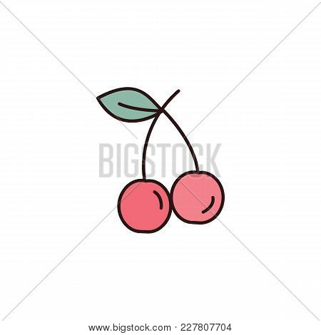 Cherry Icon In Cartoon Style. Vector Illustration With Cherry Isolated On White Background. Cartoon