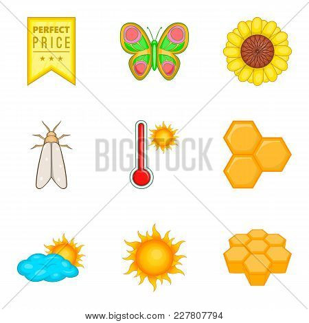 Honey Flow Icons Set. Cartoon Set Of 9 Honey Flow Vector Icons For Web Isolated On White Background