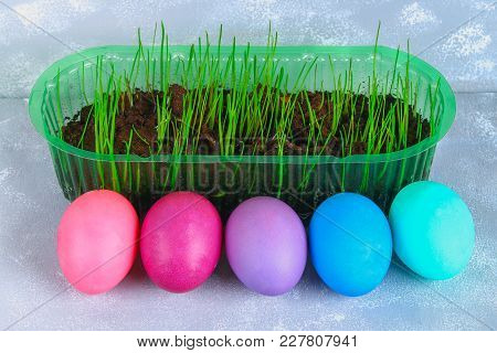 Colored Easter Eggs With Green Grass On A Gray Concrete Background