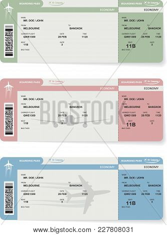 Set Of Three Variants Of Paterns Of Vector Airline Passenger And Baggage Boarding Pass Ticket With B