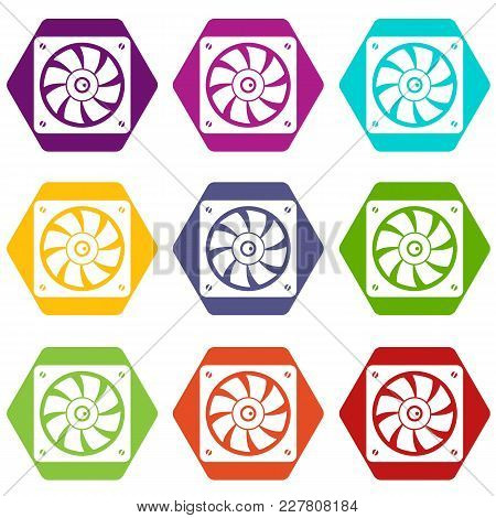 Computer Fan Icon Set Many Color Hexahedron Isolated On White Vector Illustration