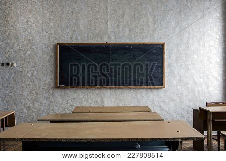 Detail Interior Classroom With Blackboard On The Wall