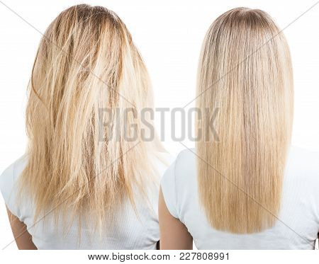 Blonde Hair Before And After Treatment. Isolated And White Background.