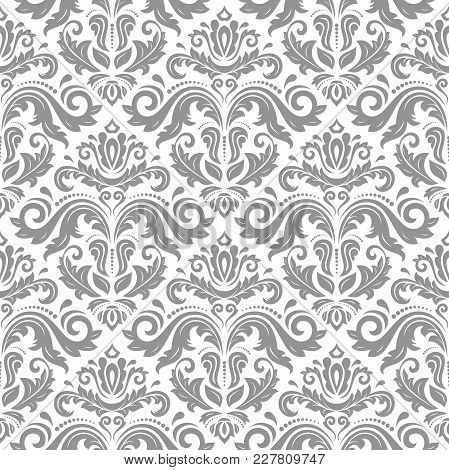 Orient Vector Classic Silver Pattern. Seamless Abstract Background With Vintage Elements. Orient Bac
