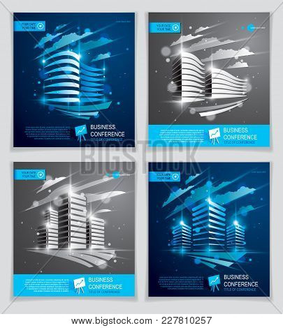 Office Buildings Brochures Set, Modern Architecture Vector Flyers With Blurred Lights And Glares Eff