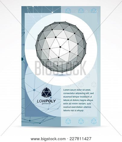 Digital Innovations Business Promotion Idea, Brochure Head Page. Abstract Geometric 3d Monochrome Wi