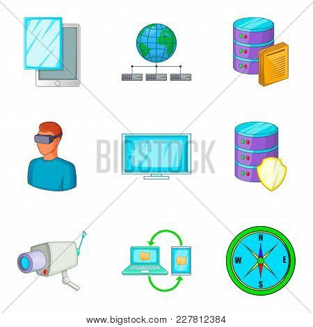 Control Device Icons Set. Cartoon Set Of 9 Control Device Vector Icons For Web Isolated On White Bac