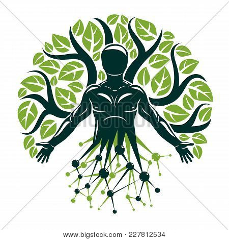 Vector Graphic Illustration Of Muscular Human Created With Wireframe Mesh Connections And Ecology Tr