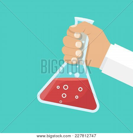 Doctor Medicine Holds Flask In Hands. Illustration Flat Design. Laboratory Research, Testing. Reacti