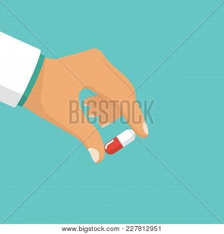 Pills In Hand. Doctor Hold Of Capsule Fingers. Take Painkillers. Medical Treatment Concept. Healthca