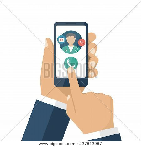 Call Doctor. Medical Advice Online. Human Calls Doctor With A Smartphone. Ambulance Concept.
