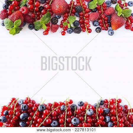 Red And Black-blue Fruits And Berries. Ripe Currants, Blueberries, Strawberries, Raspberries, Blackb