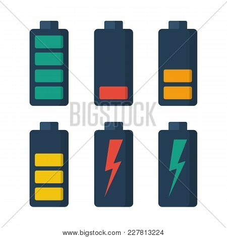 Collection Battery. Set Of Batteries With Different Levels Of Charge. Energy Power. Vector Illustrat