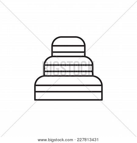 Sweet Cake Outline Icon. Sweet Cake Vector Illustration On White Background. Element For Food Sweet