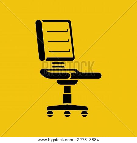 Chair Icon. Black Silhouette Armchair. Pictogram Vacant. Vector Illustration Flat Design. Isolated O