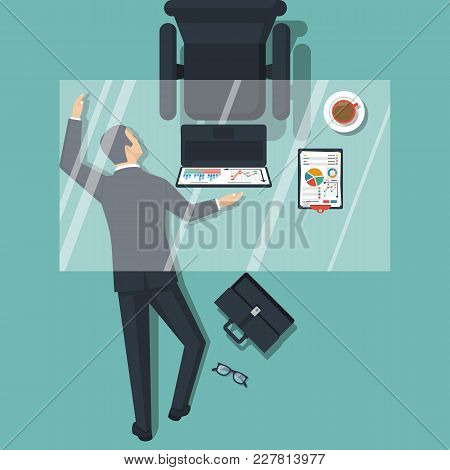 Businessman Is Under Table. Tired On Work. Overworked Male Sleeps On Floor Under The Desk. Vector Il