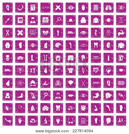 100 Anatomy Icons Set In Grunge Style Pink Color Isolated On White Background Vector Illustration