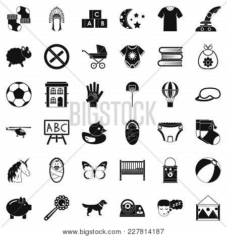 Preschool Icons Set. Simple Set Of 36 Preschool Vector Icons For Web Isolated On White Background